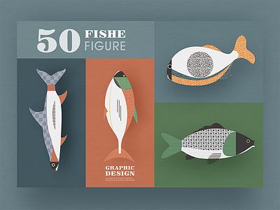 Geometric graphic design - Fish modeling design 6 image illustrations icon graphic fresh fish design collocation card