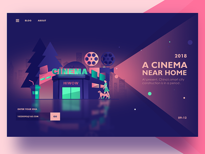 A cinema at the door of the house web ux ui landing interface illustration hero digital colors