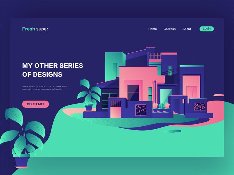 My favorite home web ux ui landing interface illustration hero digital colors