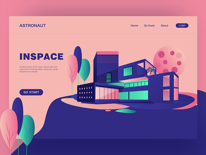 A day in space web ux ui landing interface illustration hero digital colors