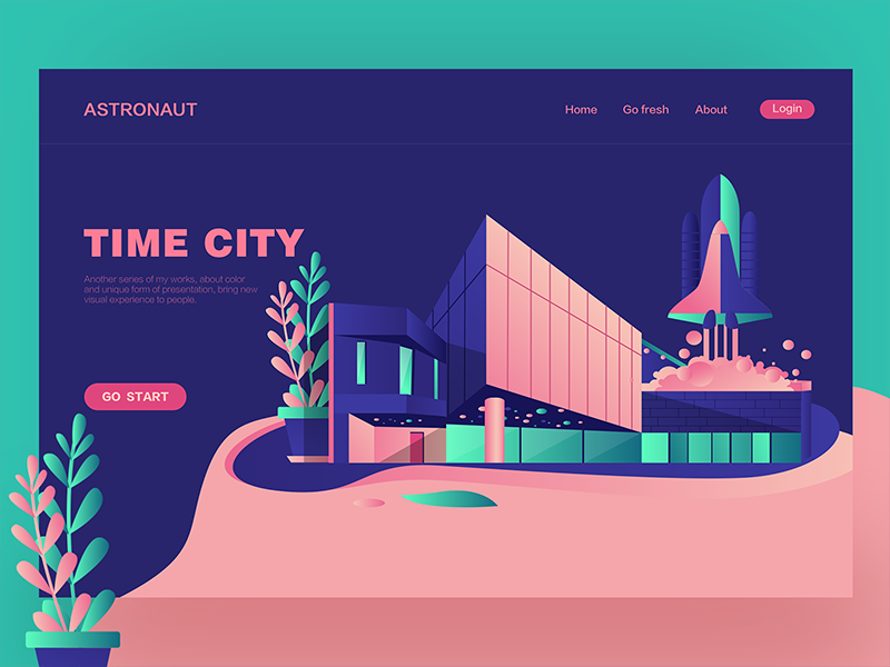 Time City web ux ui landing interface illustration hero digital colors