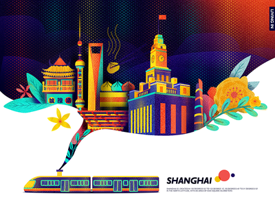 Living in Shanghai colors digital hero illustration interface landing ui ux web