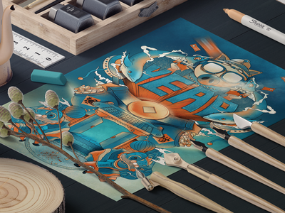 Year of the pig poster design design collocation ux ui illustration colors