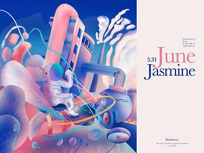 The fantasy June series-01 branding card design web interface ui illustration colors