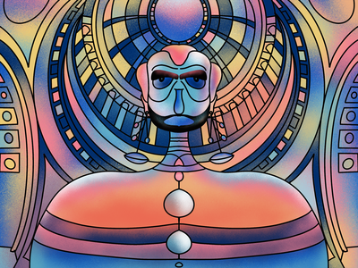 Symmetrical illustration design-01 interface vector design digital illustration colors