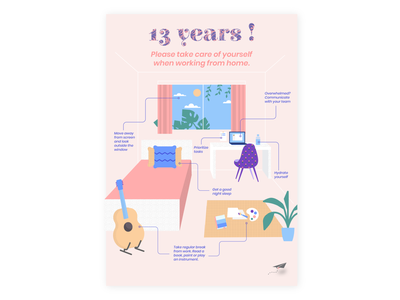 Happy 13 years! selfcare younginnovations workfromhome quarantine illustration