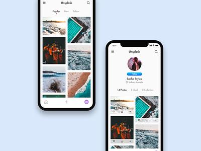 Unsplash Mobile App framer iphone x ios