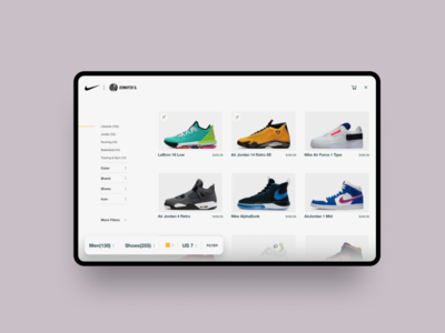 Nike Product Listing website ecommerce clean web design ux ui