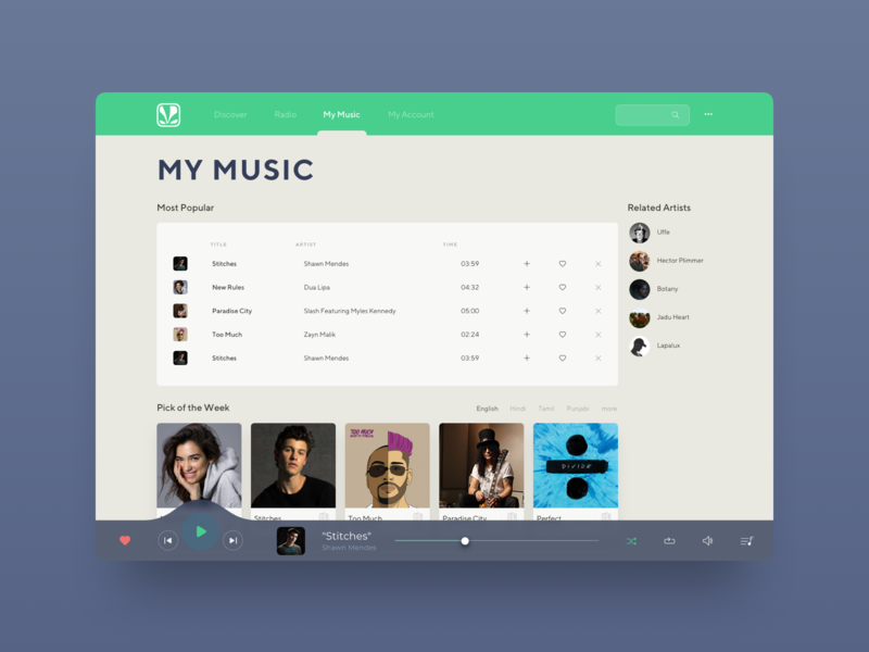 Saavn Music Service Reimagined #5 website ux ui sketch app saavn reimagine redesign music player my music