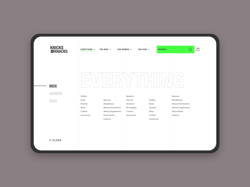 Knick n' Knacks Menu ecommerce online store web design ux uiux ui typography clean trendy shopping commerce minimal design landing page design design creative landing page blog 2019 design trend