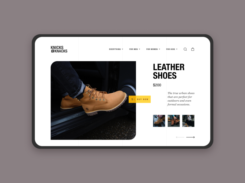 Knick n' Knacks Product Feature leather product product page ecommerce online store web design ux uiux ui typography clean trendy shopping commerce minimal design landing page design design creative landing page blog 2019 design trend