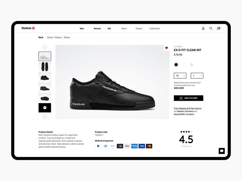 Reebok Product page white black layout 2020 ecommerce show minimal design website ui
