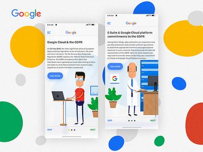 Goggle Cloud GDPR flat app vector design illustration google ui