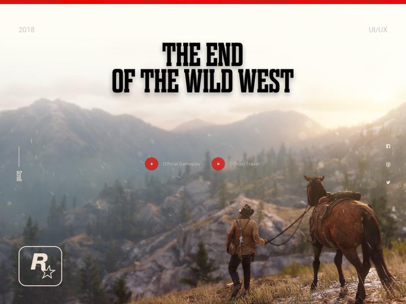 Red Dead Redemption 2 gun cowboy western game rockstar ps4 typography ux cool 2018 design ui