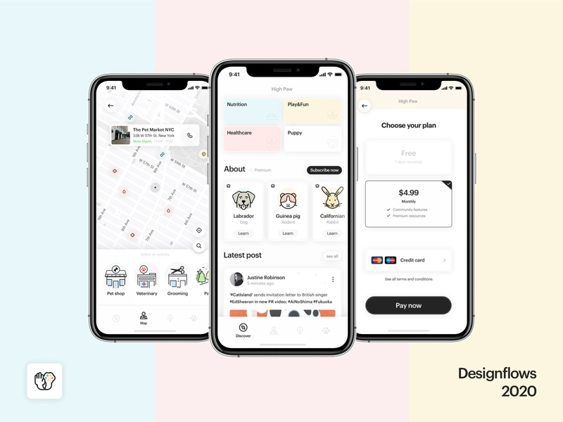 High Paw - Designflows 2020 ui  ux design concept app pet spoons bending italy contest 2020 design ui