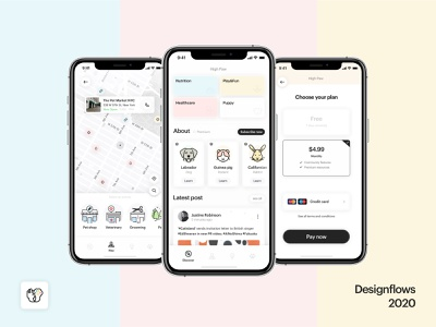 High Paw - Designflows 2020 ui  ux design concept app pet spoons bending italy contest 2020 design ui