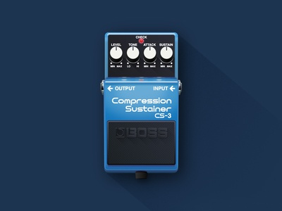 Compression Sustainer CS-3 illustration vector realism guitar pedal flat shadow gradient