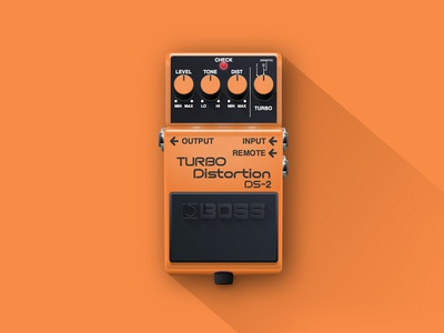 Turbo Distortion DS-2 realism illustration gradient vector shadow flat icon pedals guitar