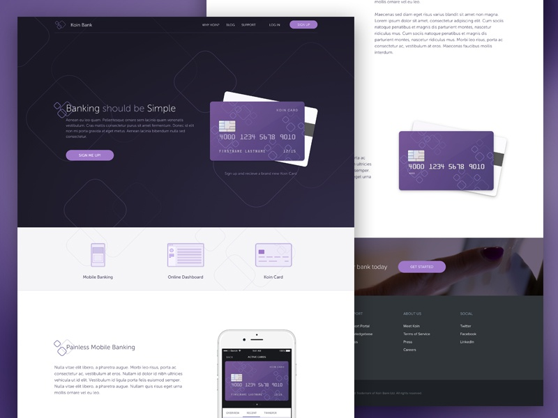 Koin Homepage money icon marketing design web interface banking