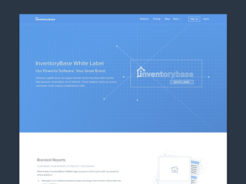 White Label interface landing marketing design web blueprint