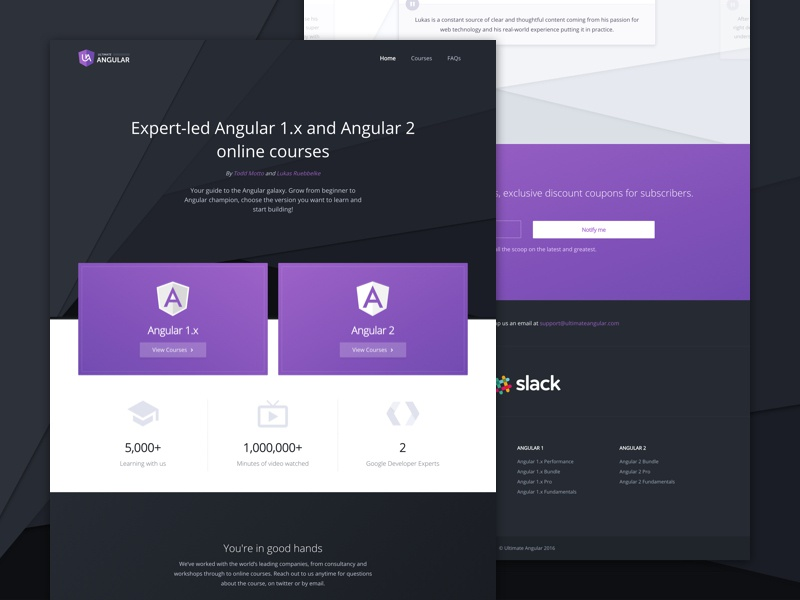 Ultimate Angular landing marketing website web ui design home page