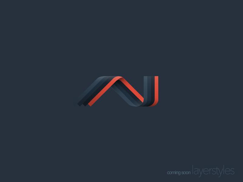 layerstyles logo colour color icon branding brand stripes ribbon twist orange blue 3d