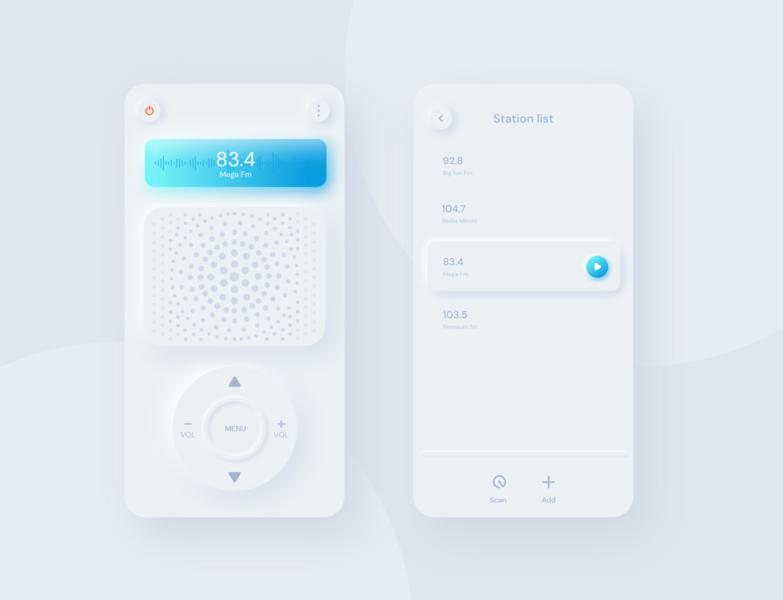 Fm Radio App/Neumorphism neumorphism trend style clean white ui design radio app fm app