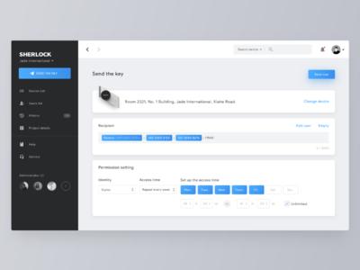 Management platform send the key page