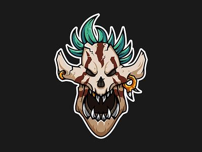 Laughing Skull Mask world of warcraft esport mascot esport logo esports vector illustration vector illustration