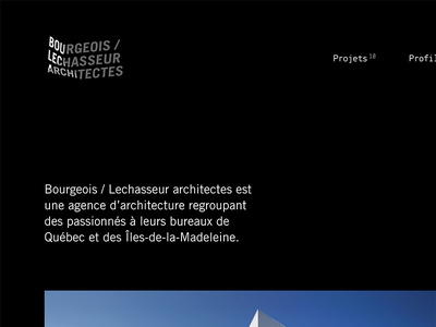 Bourgeois / Lechasseur Architectes — homepage snapshot wordpress architect ui white black minimalist clean website monospace