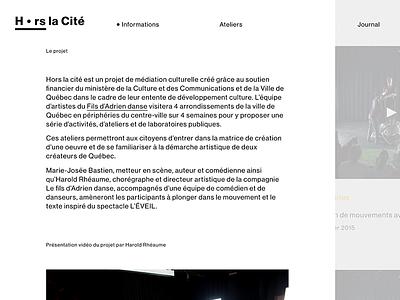 Hors la Cité — homepage snapshot wordpress ui white black minimalist scroll interactive clean website
