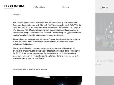 Hors la Cité — homepage snapshot
