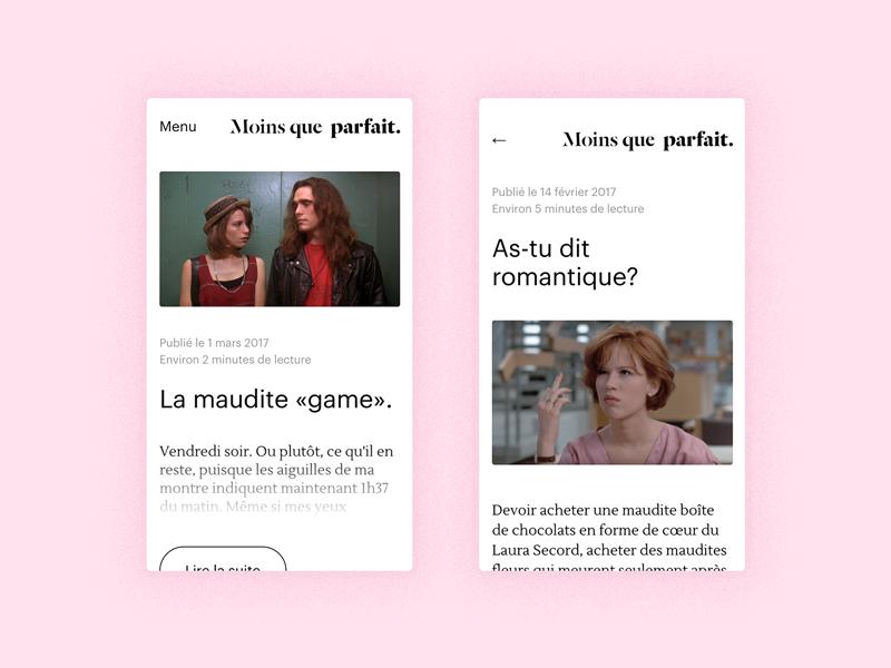 Moins que parfait – Mobile snapshots pink white button ui clean minimalist mobile journal blog