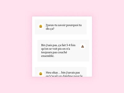 Moins que parfait – Dialogues design pink white emoji chat dialog ui clean minimalist mobile journal blog