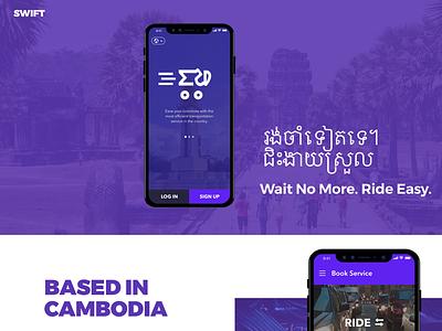 SWIFT Ridesharing App lyft uber ridesharing ride prototype ios ui agency cambodia transport delivery swift