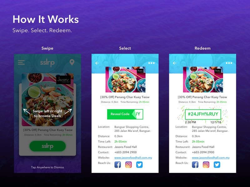 SSLRP swipe confetti realtime promotion deals restaurant food ios agency ui
