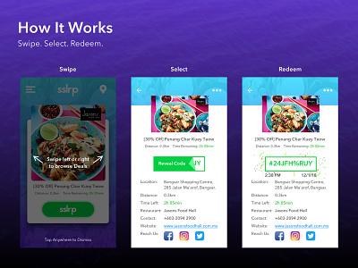 SSLRP Food Deals App groupon fave swipe confetti realtime promotion deals restaurant food ios agency ui