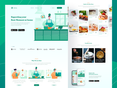 Cakerin - Sweet Selling Cookies Landingpage branding visual design explorations hero section clean concept homepage green food illustration website exploration food character illustration hero illustration landing page