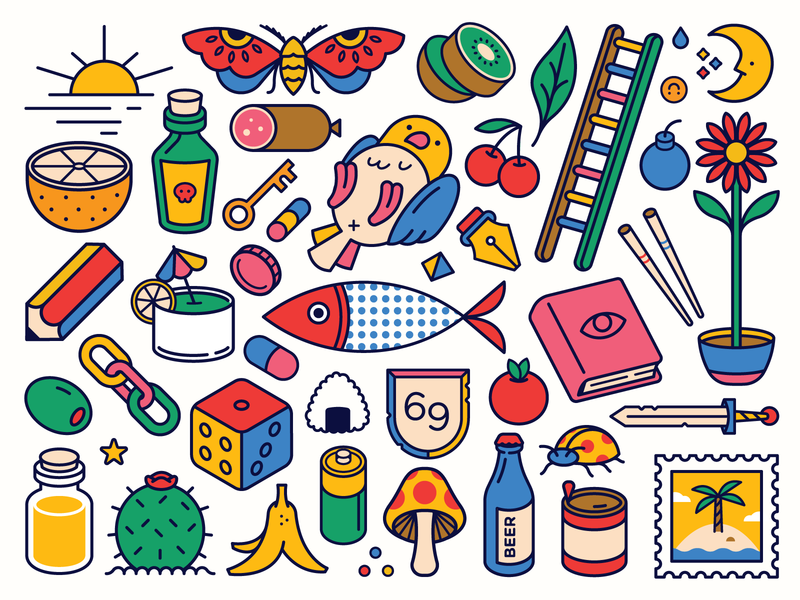 Shenanigan Illustration bird cactus food sun moon dice mushroom flower beer pen pencil sword fruit fish bug book stamp icon logo illustration