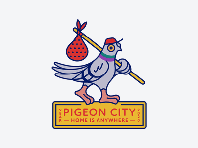 Pigeon City monoline line yellow stick red mascot icons ny city animal bird pigeon pidgeon new york city typography badge icon illustration design