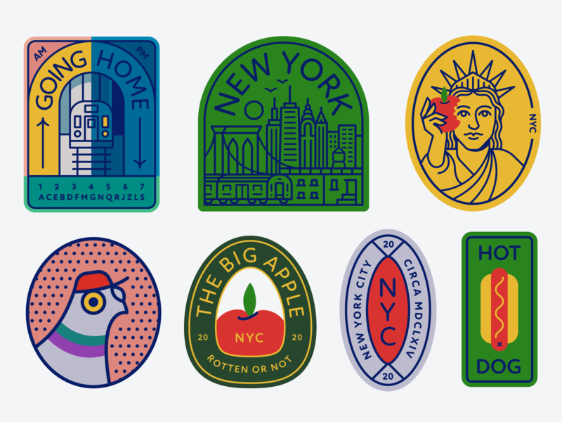 Pigeon City Pt. II icons food enamelpin patch bridge brooklyn icon hot dog statue of liberty apple subway city buildings nyc badge logo illustration design