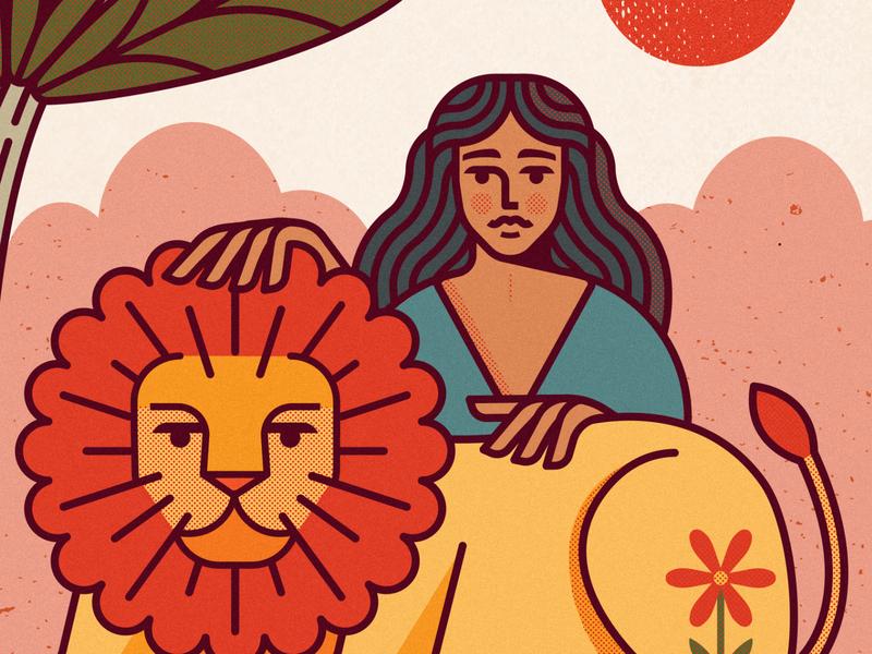International womens day 2020 mark animal yellow red earth warm sunset sky plant nature hair sun flower tree lady women lion icon design illustraion