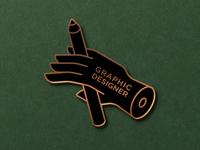 Graphic Designer Enamel Pin art pen pencils green shop fingers finger graphic designer graphic icons handset hand enamel pin enamel pin typography badge logo illustration design