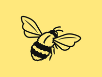 Bee Illustration #2 logo flower plant plants earth stripes wings yellow honeybee honey nature insects insect bees bee branding icon flat illustration design
