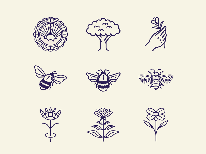 The Tree Center pt.I nature plant badgedesign badge logo badge hand tree bees bee flower sun animal typography branding vector icon flat logo illustration design