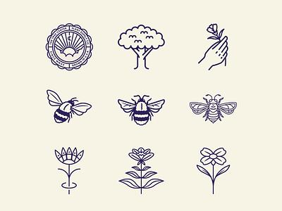 The Tree Center pt.I nature plant badgedesign badge logo badge hand tree bees bee flower sun animal typography branding vector icon flat logo illustration design