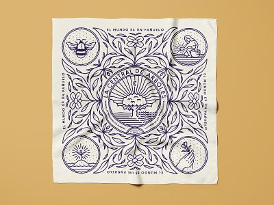 The Tree Center pt.IV typogaphy pattern intricate leaf bee hand moon river tree plant flower farmer sun animal branding badge icon logo illustration design