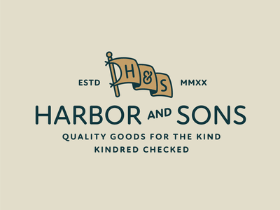 Harbor & Sons Supply Co Pt.I retro vintage banner pole letters yellow compny colors supply ampersand font flag typelockup supply co typography branding badge logo illustration design
