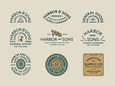 Harbor & Sons Supply Co Pt.IV typeface font badge design company supply seal lock up lockup sign stamp plant flower typography branding badge vector icon logo illustration design