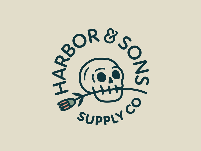 Harbor & Sons Supply Co Pt.V ampersand font lock up logos badge design plant rose flowers flower skulls skull typography branding badge vector icon flat logo illustration design